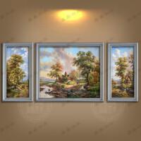 美式乡村欧式田园风景客厅沙发三联组合手绘油画装饰画有框画挂画 手绘1米*120左右60*1米 组合