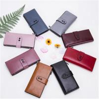 茉蒂菲莉 钱包 新款韩版纯色女士手拿包双搭扣零钱包时尚个性糖果色大容量长款手袋