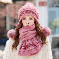 女士毛线帽百搭护耳秋冬围巾帽子两件套