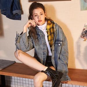 【2件3折价158.7元】唐狮秋新款牛仔外套女韩版宽松bf牛仔衣夹克立领绑带牛仔褂子