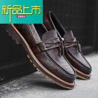 新品上市男士皮鞋秋季百搭社会小皮鞋男韩版潮流英伦复古一脚蹬休闲鞋