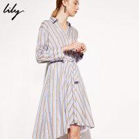 【6/4-6/8 一口价:249元】 Lily春女装商务感精致浅蓝条纹收腰系带衬衫连衣裙7923