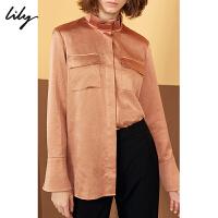 【2折到手价109.8元】全场叠加100元券 LILY春新款女装复古光泽感金棕色口袋直筒衬衫118419C4911