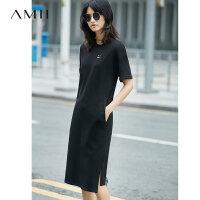 【AMII 超级品牌日】Amii[极简主义]2017夏新品休闲宽松短袖连衣裙  11762696