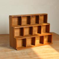 zakka做旧木质桌面收纳柜 创意阶梯12格展示柜家居首饰杂物储物盒