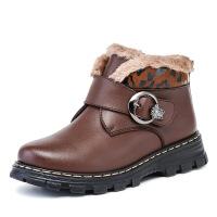 男童冬季加绒皮棉鞋儿童翻毛牛皮棉鞋英伦风童鞋皮鞋加厚保暖靴子