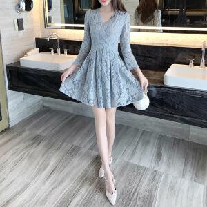 卡茗语2017秋季新款韩版V领蕾丝连衣裙女装气质修身显瘦小清新中裙