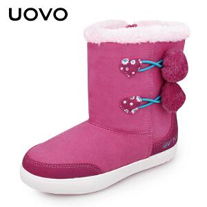 【3折价:39元】UOVO女童靴子儿童雪地鞋保暖棉靴中大童亲子靴女鞋秋冬季新款 赫尔希