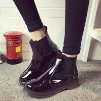 20190923012716786漆皮女靴亮皮短靴加绒低跟圆头套筒学生马丁靴女鞋英伦风单靴子
