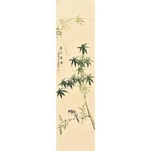 河南美术家协会会员许鲁四尺对裁花鸟画gh04926