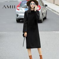 【AMII 超级品牌日】AMII[极简主义]冬圆领插肩袖宽松纯色长款针织连衣裙11683215