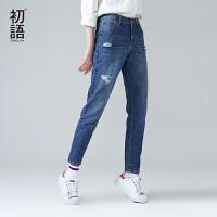 初语新款小脚铅笔裤浅色女裤显瘦学生破洞牛仔裤女长裤