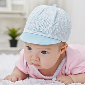货到付款 Yinbeler【小熊胎帽+婴儿防抓手套】0-5月鸭舌帽翻边春秋宝宝儿童遮阳帽夏季棒球帽