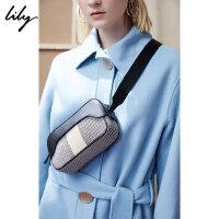 【5/26-6/1 2件2折价:139.8元】 Lily春新款女装时髦撞色结构型小巧牛皮斜跨包118420BZ817