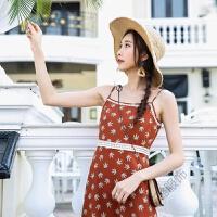 连衣裙女夏2018海边度假吊带印花沙滩长裙 图片色