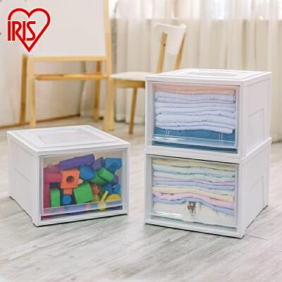 爱丽思IRIS 抽屉式收纳盒收纳整理箱透明塑料收纳柜内衣物储物柜可叠加 加深型 抽屉 可组收纳柜