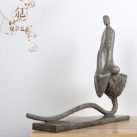 观余《步步生莲》青铜器新中式禅意和尚莲花艺术品客厅摆件