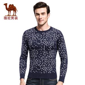 骆驼&熊猫联名系列男装毛衣 秋季套头圆领时尚青年修身长袖毛衣潮