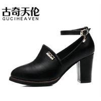 高跟鞋粗跟古奇天伦新款春季尖头韩版百搭皮鞋英伦防水台单鞋8047