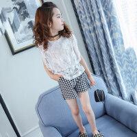 女童夏装套装2018新款儿童背心短裤两件套韩版女孩时尚衣服夏季潮 白色
