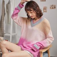 【2件1折36.9元】唐狮春款宽松女毛衣V领网红套头慵懒风韩版上衣粉色毛针织衫