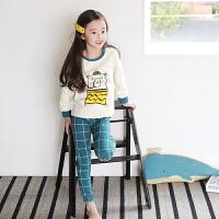 J3848儿童家居服套装秋款印花卡通套装男女童长袖韩版童内衣