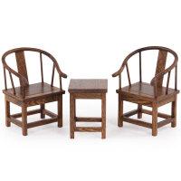 明清微缩家具模型鸡翅木圈椅微型小家具红木雕刻工艺品摆件