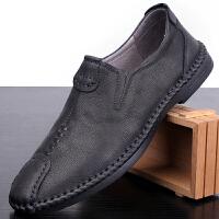 男士休闲皮鞋男真皮韩版潮流黑色软面皮英伦商务百搭男鞋春季鞋子