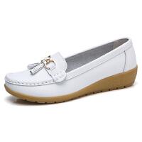 春秋夏季女鞋软底妈妈鞋中年女士单鞋豆豆鞋坡跟护士鞋工作鞋