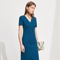Amii极简赫本风V领收腰连衣裙2021夏季新款修身显瘦气质小裙子女\预售8月2日发货