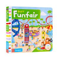 Busy系列 繁忙忙碌的游乐场 Busy Funfair 英文原版绘本 儿童英语启蒙早教机关操作纸板游戏书 锻炼手指灵活
