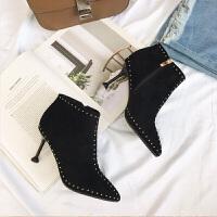 新款高跟女靴尖头细跟高跟铆钉靴绒面舒适时尚百搭裸靴 东帝82033黑色