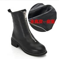 guidi前拉链短靴内增高中筒靴平跟倒靴加绒马丁靴女秋冬靴子