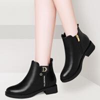 20190920234229241软 短靴女粗跟女靴子2019新款冬季妈妈女鞋百搭平底切尔西靴
