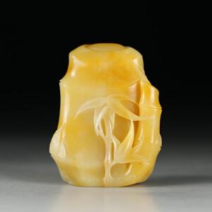 寿山老性淡黄芙蓉石 精雕节节高把玩印章 p2122
