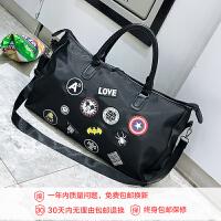 2018新款韩版大容量旅行包短途旅行袋男士时尚行李手提包运动旅游包潮 黑色 大