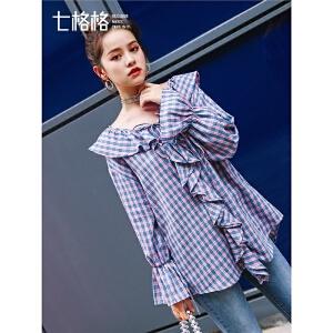 七格格荷叶边蕾丝衫2019新款女装春装喇叭袖宽松百搭长袖格子上衣