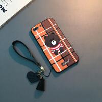 新款手机壳Xs Max日韩XR卡通6sp潮女苹果8X挂绳软套 6/6s 4.7寸(啡黄格红衣熊)