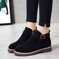 2019秋冬新款厚底低跟韩版女鞋短靴皮带扣马丁靴学生绒面淑女靴子