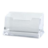 齐心名片盒透明商务办公用品桌面收纳盒男女士名片座名片架名片夹