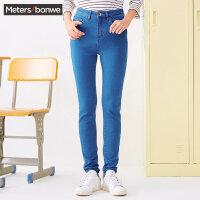 美特斯邦威牛仔长裤女士秋季高腰显瘦紧身小脚裤子学生韩版潮流