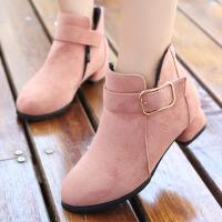 女童靴子低筒短靴秋冬绒面公主鞋2017新款童鞋女孩马丁靴加绒棉鞋