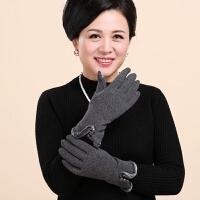 中老年女士冬季保暖手套纯色加绒毛呢分指休闲时尚老人妈妈手套女