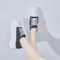 帆布鞋女2019夏学生韩版ins潮踩脚两穿厚底内增高薄款低帮松糕鞋夏季百搭鞋