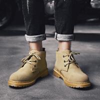 马丁靴男夏季皮靴中高帮沙漠靴百搭短靴2019新款增高英伦潮男靴子 8589 沙色(普通款)