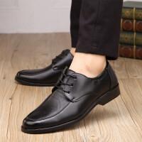 秋季男士皮鞋商务正装透气工作鞋爸爸鞋黑色休闲工作男鞋 黑602 系带