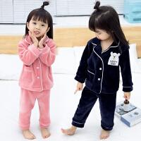 女宝宝套装冬装女童睡衣儿童保暖家居服