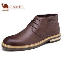 camel 骆驼男靴秋冬新品英伦潮流靴子牛皮系带劲酷短靴休闲靴