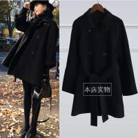 №【2019新款】冬天年轻人穿的黑色双面呢子大衣女双排扣毛呢外套大码中长款赫本风大衣