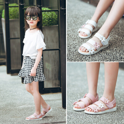 3到12岁11女孩子10夏季9小孩8女童鞋7夏天6PU5儿童凉鞋子1花朵2学步鞋沙滩鞋公主鞋潮款  22码 内长14cm